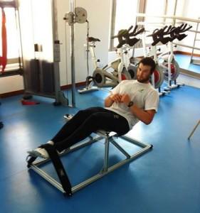 Oli Tweddell hiking in the gym