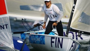 QINGDAO, CHINA - AUGUST 09:  Tapio Nirkko of Finland is seen competing in the Finn class race held at the Qingdao Olympic Sailing Center during day 1 of the Beijing 2008 Olympic Games on August 9, 2008 in Qingdao, China.  (Photo by Clive Mason/Getty Images)